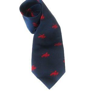 J. Crew Preppy Navy & Red Lobster Silk Necktie